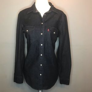 Levi Strauss tailored fit snap up denim top